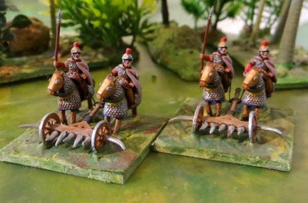 Le char scythe revisité. Bonjour les jambes de la cavalerie adverse. A ma connaissance seul A Touller propose cet engin.