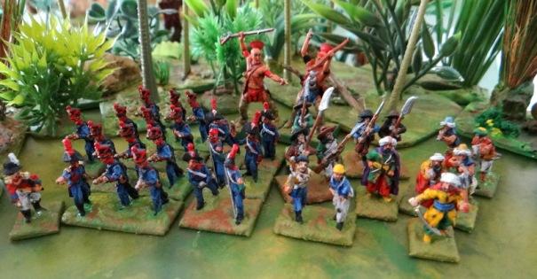 """En 15 : 1 bataillon de marins de la """"ligne"""", 5 chouans, 6 artilleurs Warmodelling, 6 ottomans, 2 guérilleros espagnols, 1 off de marine de sa majesté et 2 indiens du Canada en 28."""