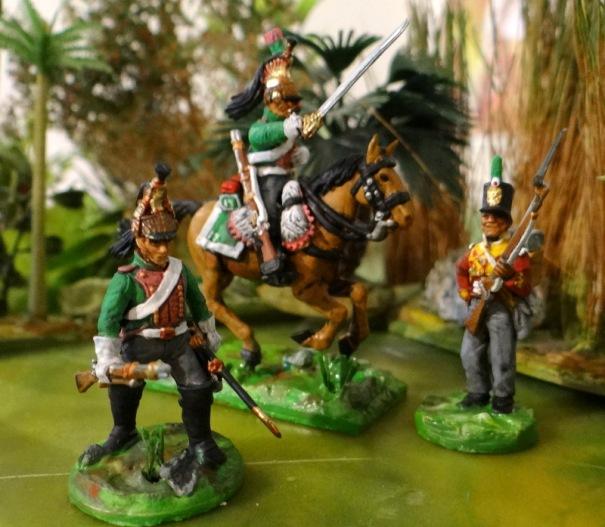 17ème dragon (à pied et à cheval)  et 1 fusilier anglais d'une compagnie du centre.