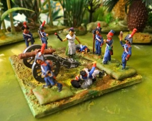 Alors qu'elle portait des rafraîchissements aux artilleurs, Maria trouva un canon abandonné. Sur la table, les artilleurs sont de retour.