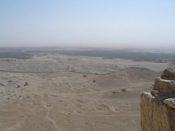 Palmyre dans la plaine droit devant.
