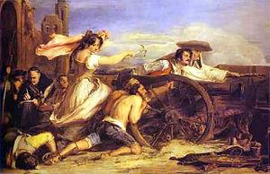 Voilà Augustina vu par un peintre. Après être devenue guerillera elle finit capitaine dans l'armée anglaise.