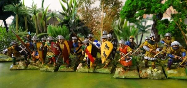 Du solide, plus de 20 piétons croisades tant arbalétriers que guerriers de corps à corps.