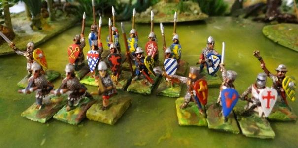 Les chevaliers à pied et les sergents d'arme.