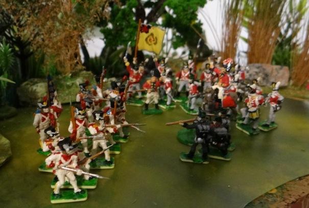 Avec des Français en uniforme blanc (on n'est pas à Waterloo là)