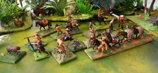 Des trappeurs et leur convoi. Mulets, bivouac et ours .....