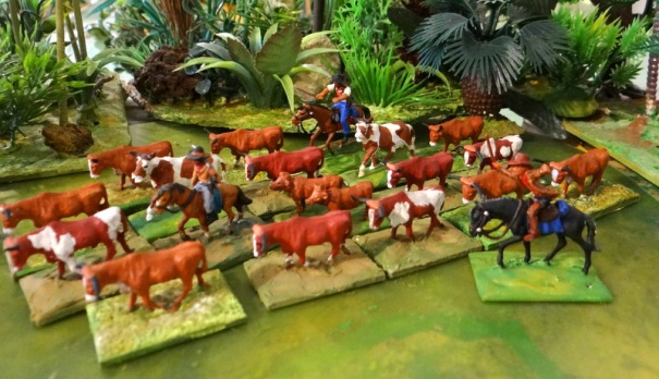 """Le troupeau de """"longhorns"""" (en partie des limousines Non !) et ses accompagnants."""