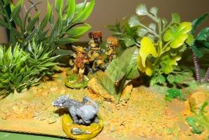 Von Roultaboss n'écoutant que son fuhrer traverse un terrain dangereux. Un phacochère est débusque et rapidement occis par le grand chasseur arien.
