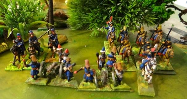 Du léger.  2 batteries cosaques. Les canonniers sont peu expérimentés et ils utilisent de petits calibre (6) souvent récupérés.